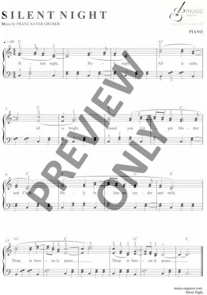 Franz Xaver Gruber Silent Night Piano Professional Sheet Music
